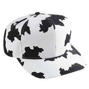 Six panel cow pattern cotton twill cap (56-57)