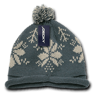 Snowflake roll up beanie (611B)